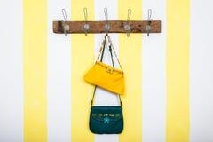 Petits sacs en cuir verts et jaunes image stock
