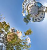 Petits vue panoramique des planètes 360 verts Photographie stock