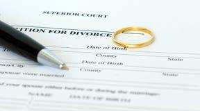 Petizione per il documento di divorzio Immagini Stock