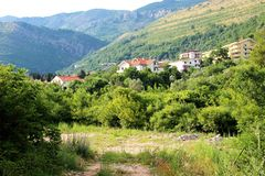 Petovac Montenegro june 2015 , view of the town from the beach stock photo