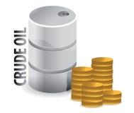 Petróleo crudo y diseño de la ilustración del dinero en circulación de las monedas Fotos de archivo libres de regalías