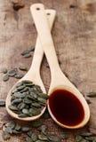 Petróleo de germen de calabaza Imagen de archivo libre de regalías
