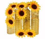 Petróleo de girasol en botellas Fotografía de archivo libre de regalías