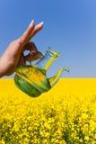 Petróleo de violação, frasco, campo de florescência da violação Imagens de Stock Royalty Free