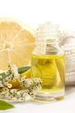 Petróleo del masaje de la albahaca del limón Imagen de archivo libre de regalías
