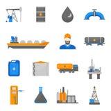 Petróleo do óleo dos desenhos animados que processa os ícones ajustados Vetor ilustração do vetor