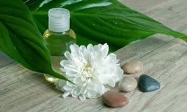 Petróleo esencial con la flor y las piedras. imagen de archivo libre de regalías