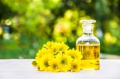 Petróleo esencial Concepto del balneario Elixir de la flor y flores frescas Cosmético natural fotografía de archivo