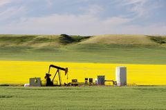 Petróleo Pumpjack Alberta do óleo fotos de stock royalty free