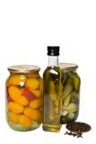 Petróleo vegetal e verde-oliva Fotografia de Stock