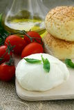 Petróleo verde-oliva dos tomates italianos do queijo do mozzarella Imagem de Stock Royalty Free