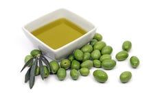 Petróleo verde-oliva e azeitonas Imagem de Stock Royalty Free