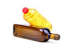 Petróleo verde-oliva e de petróleo do girassol frascos Imagem de Stock