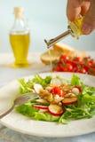 Petróleo verde-oliva na salada de galinha fotos de stock