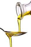 Petróleo verde-oliva virgem extra Fotografia de Stock