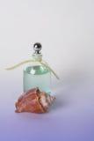 Petróleos esenciales en botella y Seashell claros Fotos de archivo libres de regalías