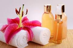 Petróleos essenciais da massagem dos termas Foto de Stock Royalty Free