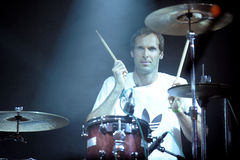 Petr Cech. Famous Czech football goalkeeper Petr Cech plays the drums at festival Rock for People in Hradec Kralove, Czech republic, July 5, 2013 Royalty Free Stock Images