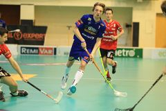 Petr Kolos in floorball Stock Image