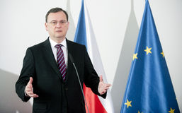 Petr Necas. Czech prime minister Petr Necas during press conference in Prague, February 22, 2013 Stock Photo