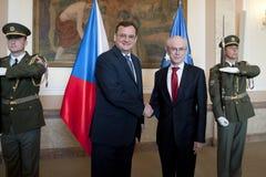 Petr Necas i Herman Van Rompuy Obraz Stock