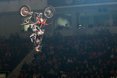Petr Pilat. SOFIA, BULGARIA - DECEMBER 15 : Petr Pilat CZE performs trick during the 2012 FIM Mx Freestyle World Championship on December 15, 2012 in Sofia Royalty Free Stock Image