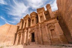 Petra修道院,旱谷芭蕉科,中东,约旦 库存照片