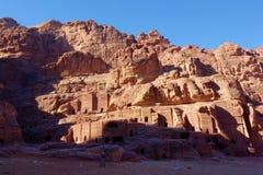 Petra古老被放弃的岩石城市在约旦作为一个旅游胜地 库存照片
