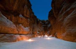 Petra,约旦在晚上 免版税库存图片