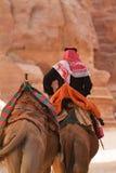 Petra μοναστήρι-βεδουίνη και καμήλες Στοκ εικόνες με δικαίωμα ελεύθερης χρήσης