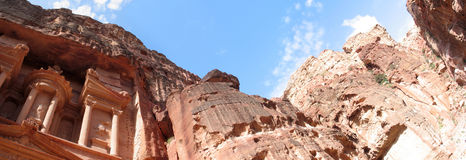Petra. Panoramic view of Petra treasury Stock Images