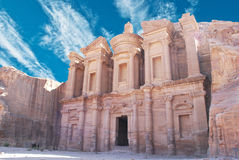Petra. Monastery in Petra. Made by digging a holes in the rocks and cutting the hill. Jordan Stock Photo