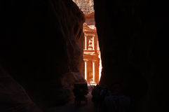Petra. A caravan arriving to the ancient Petra, Jordan Royalty Free Stock Photography