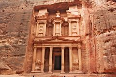 Petra Al Khazneh - de Schatkist in de oude stad van Petra Royalty-vrije Stock Afbeeldingen