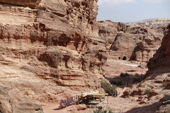 Petra. Ancient city curved out of sandstone in Jordan Royalty Free Stock Photography