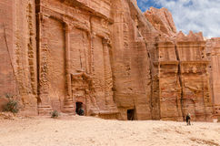 Petra, ancient city-necropolis, carved into rock Stock Images