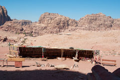 Petra, Bedouin, tent, Jordan, Middle East, mountain, desert, landscape, climate change. Jordan, Middle East 02/10/2013: a Bedouin tent where they sell jewelery royalty free stock photos