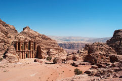 Petra, the Monastery, known as Ad Deir or El Deir, Petra Archaeological Park, Jordan, Middle East, desert, landscape. Jordan, 02/10/2013: the Jordanian landscape stock images