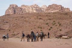 Petra bergen, Zuid-Jordanië Stock Foto