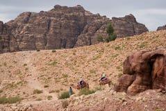 Petra bergen, Zuid-Jordanië Stock Foto's