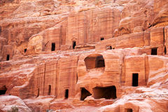 Petra, cave dwellings. Cave dwellings in the lost city of Petra, Jordan. Petra is one of the new Seven Wonders of the World and is also referred to as the Rose Royalty Free Stock Photos
