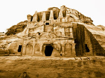 Petra en Jordania - tumbas Foto de archivo