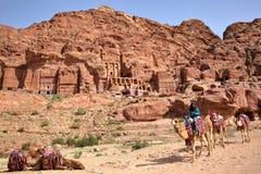 PETRA, JORDÂNIA - 9 DE MARÇO DE 2016: Uma equitação beduína seus camelos com os túmulos reais no fundo imagem de stock royalty free