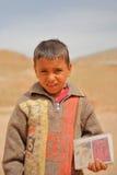 PETRA, JORDÂNIA, O 12 DE MARÇO DE 2016: Retrato de um menino beduíno pequeno que venda cartão fotos de stock