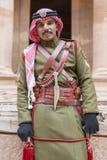 PETRA, JORDAN – December 25th, 2015: Royal soldier guarding the city Royalty Free Stock Photo