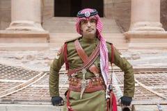 PETRA, JORDAN – December 25th, 2015: Royal soldier guarding the city Stock Photos