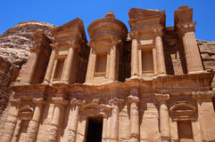 Petra in Jordan. Ancient temple of Petra built in Jordan Royalty Free Stock Photo