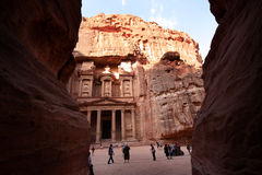 Petra, Jordan. The treasure in Petra, Jordan, at the end of the narrow passage (Siq). Petra is now one of the most visited tourist place in Middle East royalty free stock photo