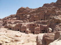 Petra, Jordan. Archaeological site of Petra in Jordan surrounded by beautiful mountains Royalty Free Stock Image