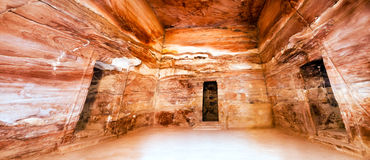 Petra - Jordan. Petra - Nabataeans capital city (Al Khazneh) , Jordan. Treasury tomb main romm. Roman Empire period. Stich image panorama Stock Photos
